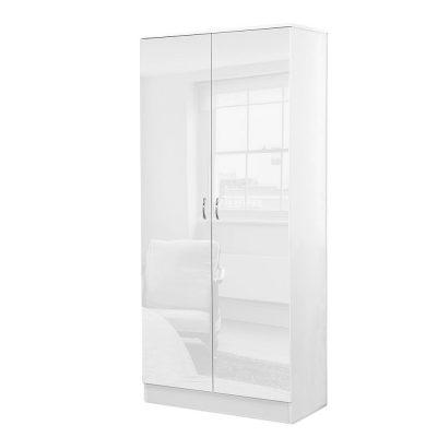 Chilton 2 door double white gloss wardrobe