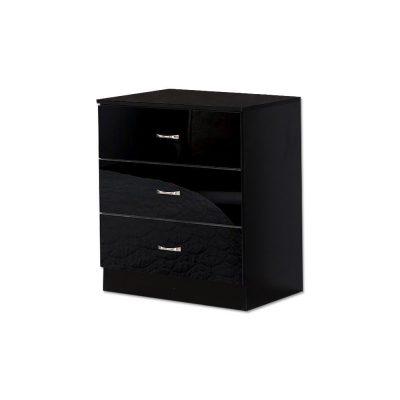 Black High Gloss Deep 3 Drawer Chest of Drawers. Matt black frame.Bedroom Chest