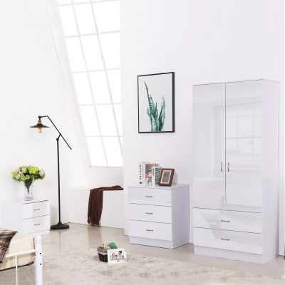 CHILTON WHITE HIGH GLOSS 4 PIECE BEDROOM FURNITURE SET
