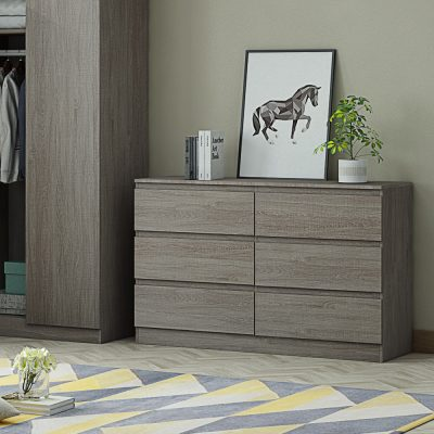 Carlton 6 drawer chest Rustic Grey Oak