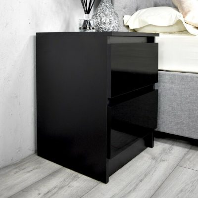 Carlton 2 Drawer Black Gloss