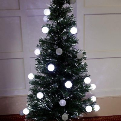 6FT FO TREE/WHITE LED BALLS