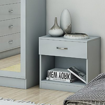 Chilton Nightstand Grey Gloss