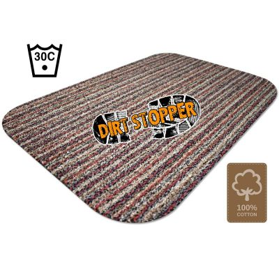 Original Dirt Stopper Large Magic Barrier Door Mats & RunnersStripe: Red, Black, & BeigeUltra Absorbent | 100% Cotton | Wash at 30° | Tumble Dry Low | Non-slip Latex BackSay goodbye to muddy floors, hello to clean carpets with the original Dirt Stopper super absorbent barrier door mats and runners.Stopping dirt in its tracks, these popular door mats are made from 100% cotton to instantly trap up to 95% of dust, dirt and moisture at the door. An anti-slip latex backing keeps your door mat in place and preventing trips and falls.Thanks to the super absorbent natural cotton fibres, these attractive doormats are more effective at trapping dirt and moisture than cheap man made blends, polypropylene or coir door mats.These handy indoor doormats are machine washable 30°C and can tumble dry on a low setting, keeping your door mat looking great and retaining its high absorbency.Essential for any doorway leading outside, the Dirt Stopper magic door mats are perfect for any areas with high footfall.Prevents muddy paws & footprintsFantastic for front doors, kitchens & conservatoriesGreat for gardeners & back doorsPerfect for homes with children or petsIdeal for caravans, motorhomes & campingMade in the UK – support British manufacturingProtects all types of floors including laminate, ceramic tiles, wooden floors & carpetWith a stylish red, black and beige striped patterned pile that looks fantastic with any interior style, Dirt Stopper door mats in 'Stripe' are a firm favourite for front door mats or to protect floors at the back door. More colour options available.Size:Large 100cm x 75cm - When you want to protect a larger areaAlso available:Runner 150cm x 65cm - Ideal for hallways or porchesRegular 75cm x 50cm - Perfect for standard UK doorwaysDon't settle for cheap imitations. Only the original Dirt Stopper Door Mats & Runners will deliver the maximum absorbency to keep your home clean and fresh.