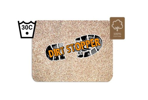 Original Dirt Stopper Magic Barrier Door Mats & RunnersMoonshine – Beige / Golden SandUltra Absorbent | 100% Cotton | Wash at 30° | Tumble Dry Low | Non-slip Latex BackSay goodbye to muddy floors, hello to clean carpets with the original Dirt Stopper super absorbent barrier door mats and runners.Stopping dirt in its tracks, these popular door mats are made from 100% cotton to instantly trap up to 95% of dust, dirt and moisture at the door. An anti-slip latex backing keeps your door mat in place and preventing trips and falls.Thanks to the super absorbent natural cotton fibres, these attractive doormats are more effective at trapping dirt and moisture than cheap man made blends, polypropylene or coir door mats.These handy indoor doormats are machine washable 30°C and can tumble dry on a low setting, keeping your door mat looking great and retaining its high absorbency.Essential for any doorway leading outside, the Dirt Stopper magic door mats are perfect for any areas with high footfall.Prevents muddy paws & footprintsFantastic for front doors, kitchens & conservatoriesGreat for gardeners & back doorsPerfect for homes with children or petsIdeal for caravans, motorhomes & campingMade in the UK – support British manufacturingProtects all types of floors including laminate, ceramic tiles, wooden floors & carpetWith an attractive beige / golden sands coloured pile that looks fantastic with many interior decor styles, Dirt Stopper door mats in 'Moonshine' are a firm favourite for front door mats or to protect floors at the back door. More colour options available.Size:Regular 75cm x 50cm - Perfect for standard UK doorwaysAlso available:Runner 150cm x 65cm - Ideal for hallways or porchesLarge 100cm x 75cm - When you want to protect a larger area Don't settle for cheap imitations. Only the original Dirt Stopper Door Mats & Runners will deliver the maximum absorbency to keep your home clean and fresh.