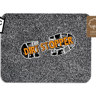 Original Dirt Stopper Magic Barrier Door Mats & RunnersPearl: Light Grey & Dark Grey Speckled PatternUltra Absorbent | 100% Cotton | Wash at 30° | Tumble Dry Low | Non-slip Latex BackSay goodbye to muddy floors, hello to clean carpets with the original Dirt Stopper super absorbent barrier door mats and runners.Stopping dirt in its tracks, these popular door mats are made from 100% cotton to instantly trap up to 95% of dust, dirt and moisture at the door. An anti-slip latex backing keeps your door mat in place and preventing trips and falls.Thanks to the super absorbent natural cotton fibres, these attractive doormats are more effective at trapping dirt and moisture than cheap man made blends, polypropylene or coir door mats.These handy indoor doormats are machine washable 30°C and can tumble dry on a low setting, keeping your door mat looking great and retaining its high absorbency.Essential for any doorway leading outside, the Dirt Stopper magic door mats are perfect for any areas with high footfall.Prevents muddy paws & footprintsFantastic for front doors, kitchens & conservatoriesGreat for gardeners & back doorsPerfect for homes with children or petsIdeal for caravans, motorhomes & campingMade in the UK – support British manufacturingProtects all types of floors including laminate, ceramic tiles, wooden floors & carpetWith an attractive light and dark grey speckled pile that looks fantastic with any interior style, Dirt Stopper door mats in 'Pearl' are a firm favourite for front door mats or to protect floors at the back door. More colour options available.Size:Regular 75cm x 50cm - Perfect for standard UK doorwaysAlso available:Runner 150cm x 65cm - Ideal for hallways or porchesLarge 100cm x 75cm - When you want to protect a larger area Don't settle for cheap imitations. Only the original Dirt Stopper Door Mats & Runners will deliver the maximum absorbency to keep your home clean and fresh.