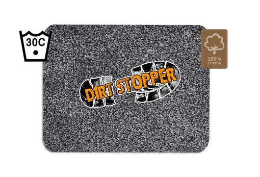 Original Dirt Stopper Magic Barrier Door Mats & RunnersPearl: Light Grey & Dark Grey Speckled PatternUltra Absorbent   100% Cotton   Wash at 30°   Tumble Dry Low   Non-slip Latex BackSay goodbye to muddy floors, hello to clean carpets with the original Dirt Stopper super absorbent barrier door mats and runners.Stopping dirt in its tracks, these popular door mats are made from 100% cotton to instantly trap up to 95% of dust, dirt and moisture at the door. An anti-slip latex backing keeps your door mat in place and preventing trips and falls.Thanks to the super absorbent natural cotton fibres, these attractive doormats are more effective at trapping dirt and moisture than cheap man made blends, polypropylene or coir door mats.These handy indoor doormats are machine washable 30°C and can tumble dry on a low setting, keeping your door mat looking great and retaining its high absorbency.Essential for any doorway leading outside, the Dirt Stopper magic door mats are perfect for any areas with high footfall.Prevents muddy paws & footprintsFantastic for front doors, kitchens & conservatoriesGreat for gardeners & back doorsPerfect for homes with children or petsIdeal for caravans, motorhomes & campingMade in the UK – support British manufacturingProtects all types of floors including laminate, ceramic tiles, wooden floors & carpetWith an attractive light and dark grey speckled pile that looks fantastic with any interior style, Dirt Stopper door mats in 'Pearl' are a firm favourite for front door mats or to protect floors at the back door. More colour options available.Size:Regular 75cm x 50cm - Perfect for standard UK doorwaysAlso available:Runner 150cm x 65cm - Ideal for hallways or porchesLarge 100cm x 75cm - When you want to protect a larger areaDon't settle for cheap imitations. Only the original Dirt Stopper Door Mats & Runners will deliver the maximum absorbency to keep your home clean and fresh.